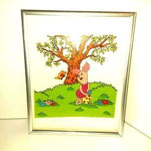 "Piglet cross stitch framed 8"" x 10"""